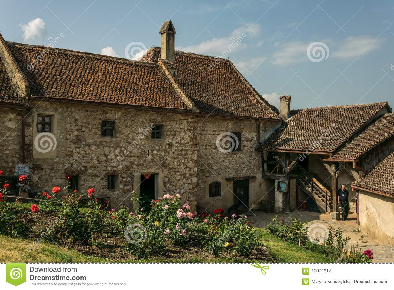 Old houses and streets in the Istria Medieval fortress Rasnov in Romania