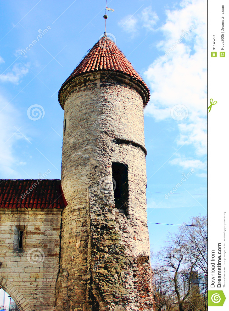 Old houses and towers with a red roof stock image image for Homes with towers