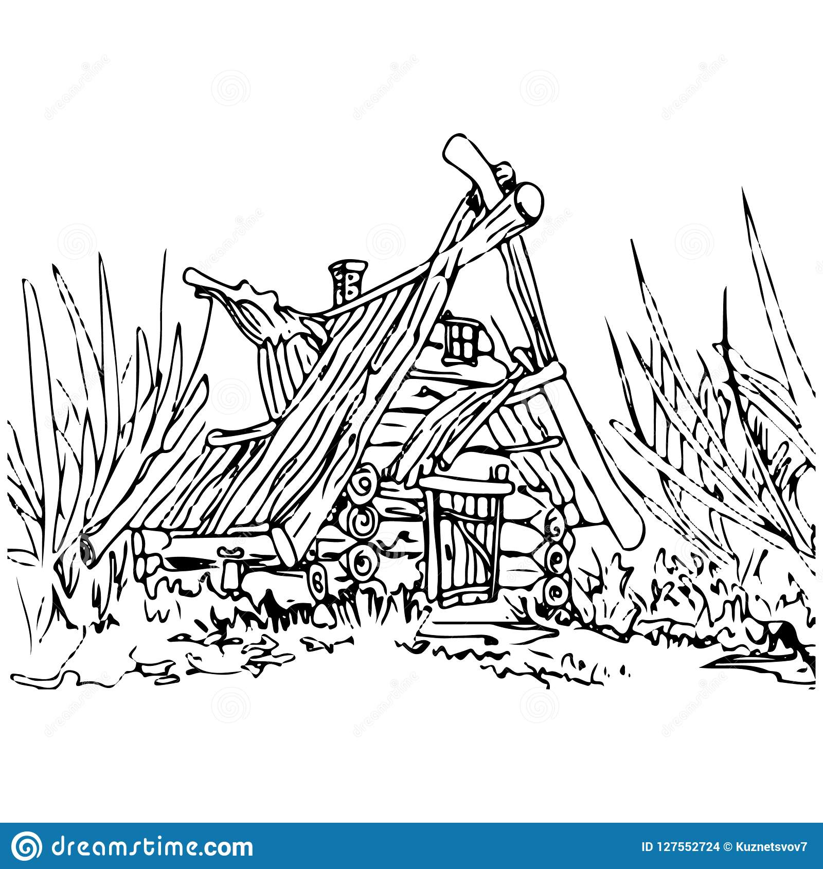 Old hut house pencil drawing on a white background stock vector