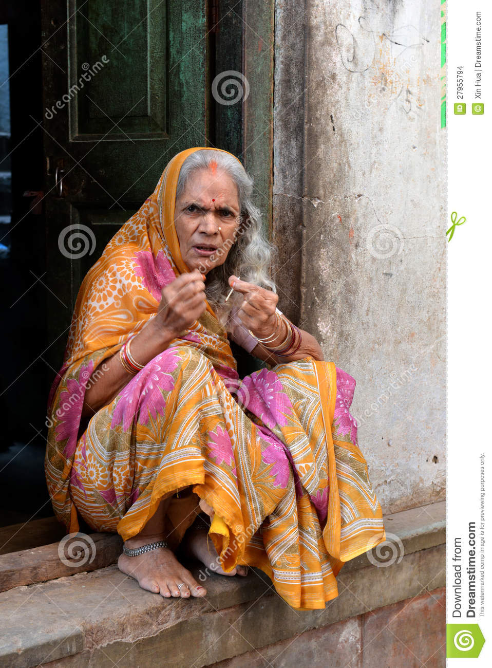 Old Indian Lady In Varanasi Editorial Stock Image Image