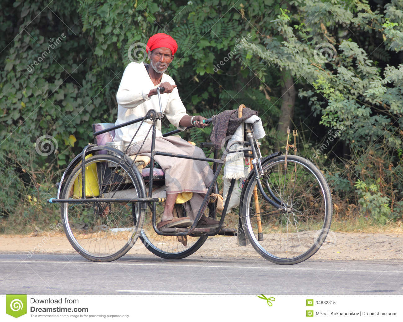Old Indian Man On Bike With Manual Drive Editorial Image