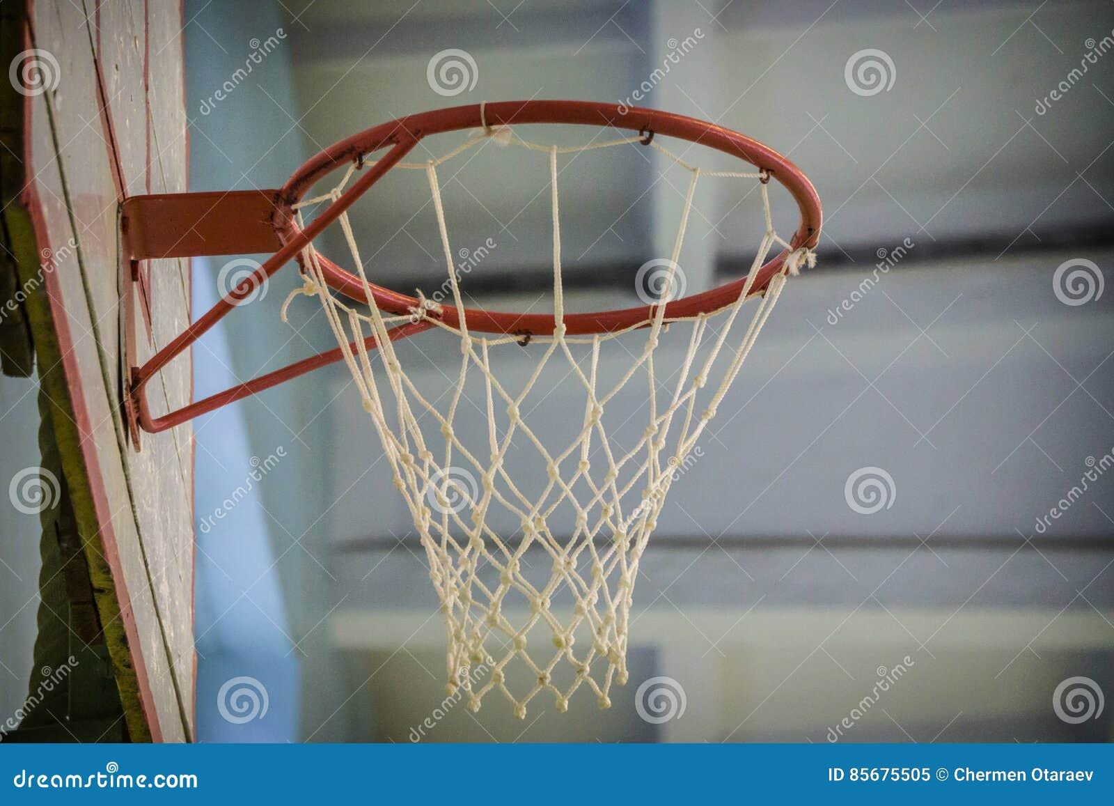 Old Indoor Basketball Hoop In Gym At School Stock Image - Image of ...