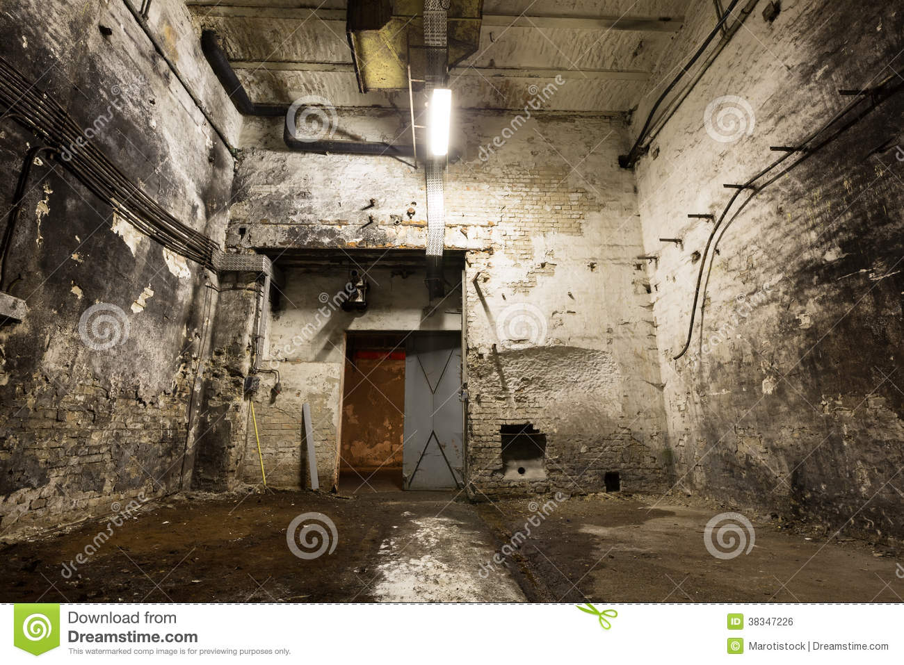 Old Industrial Building Basement With Little Light