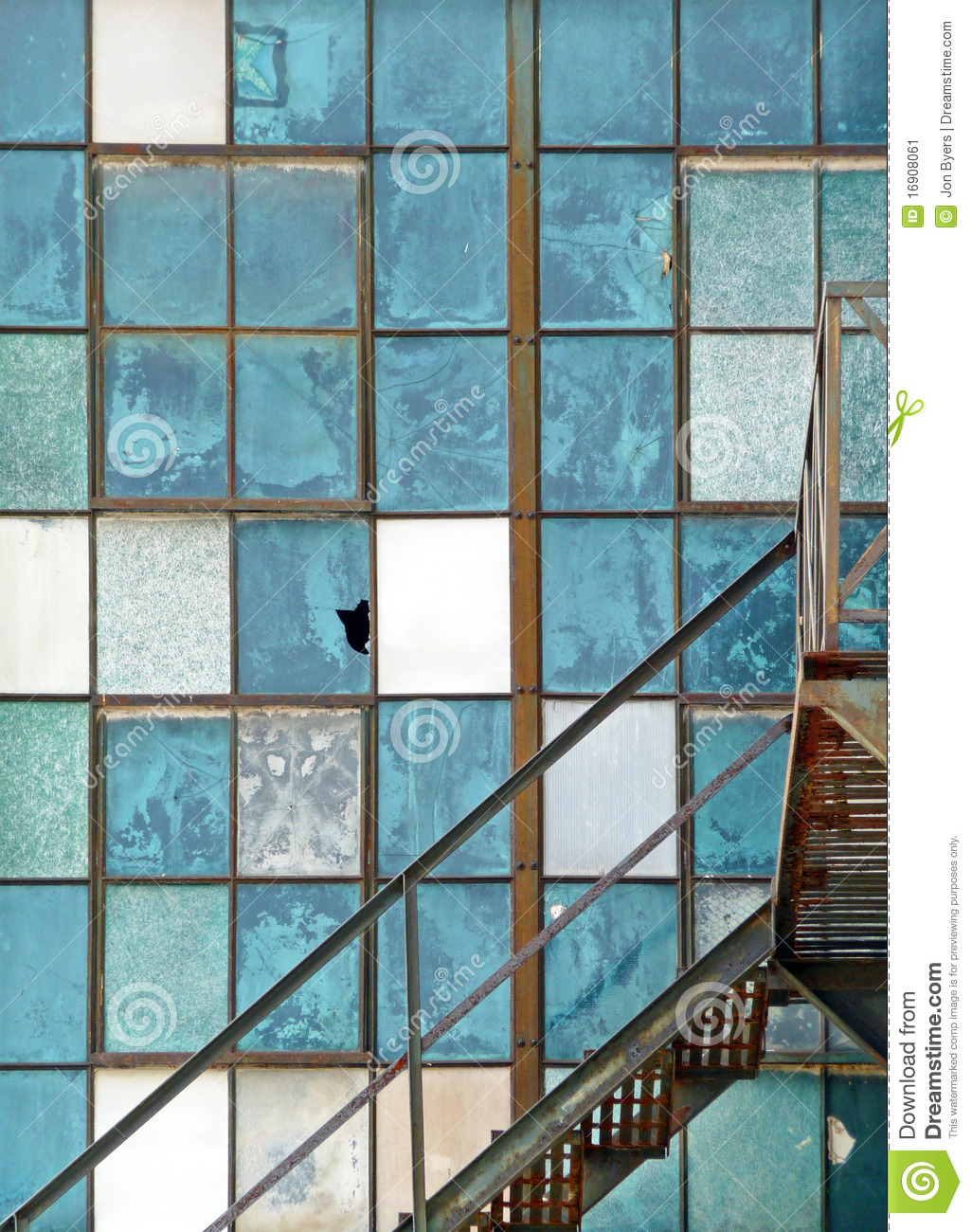 old industrial window and fire escape abstract stock image
