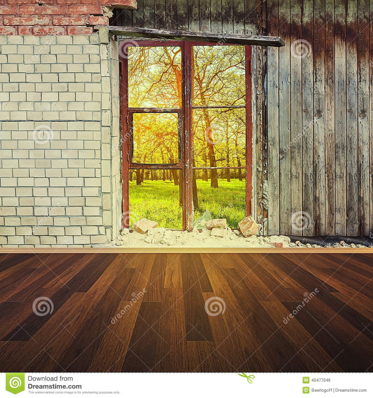 Old Interior Window Walls : Old interior with brick wall and window stock photo