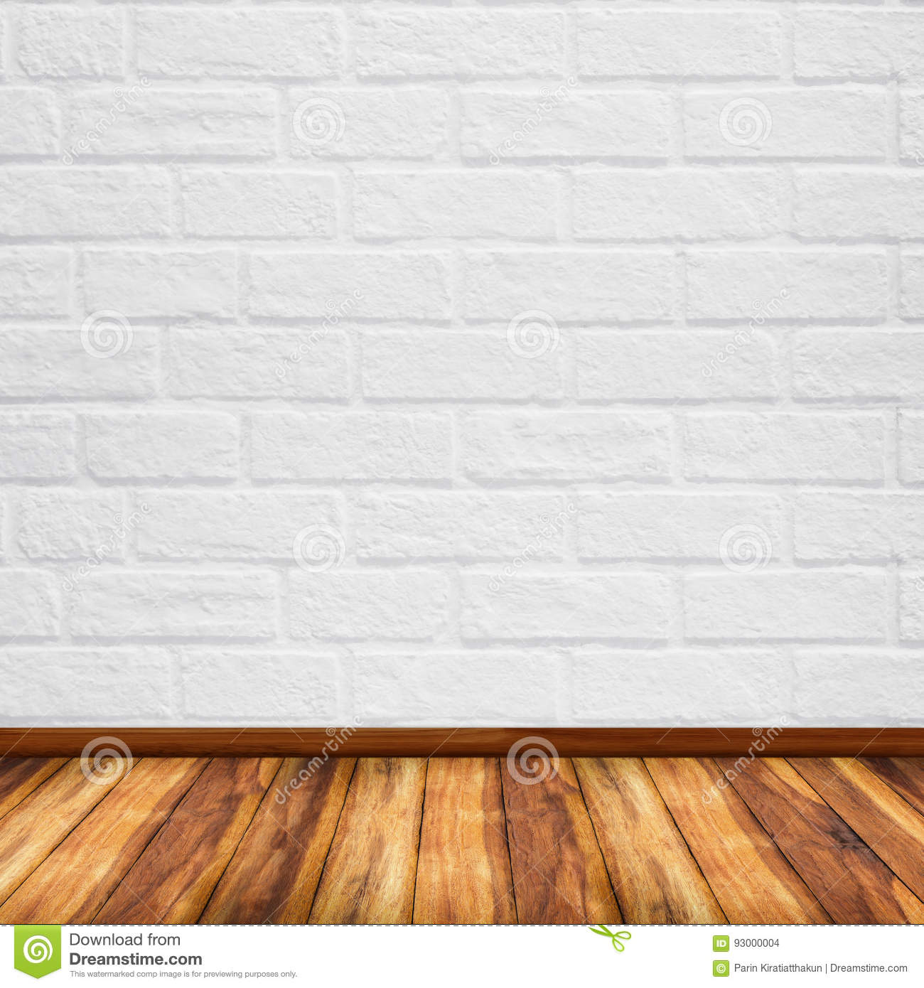 Old Interior With White Brick Wall Stock Photo