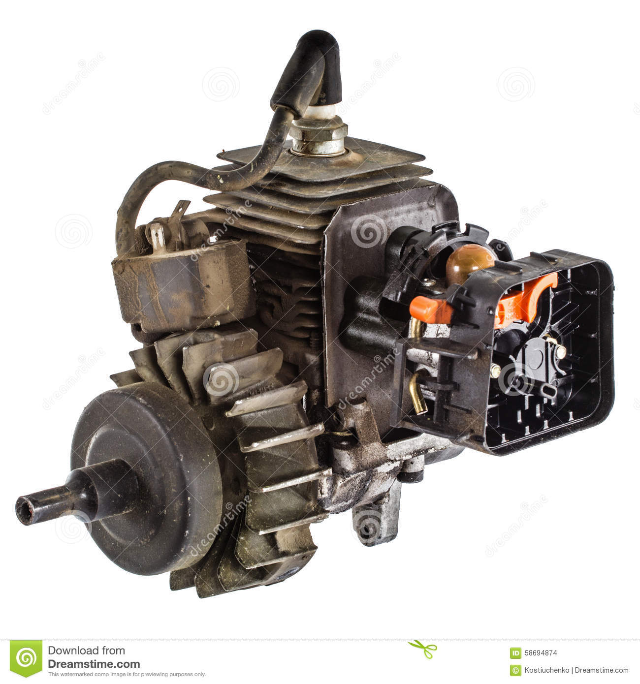 Old Internal Combustion Engine  Isolated On White Background Stock Photo