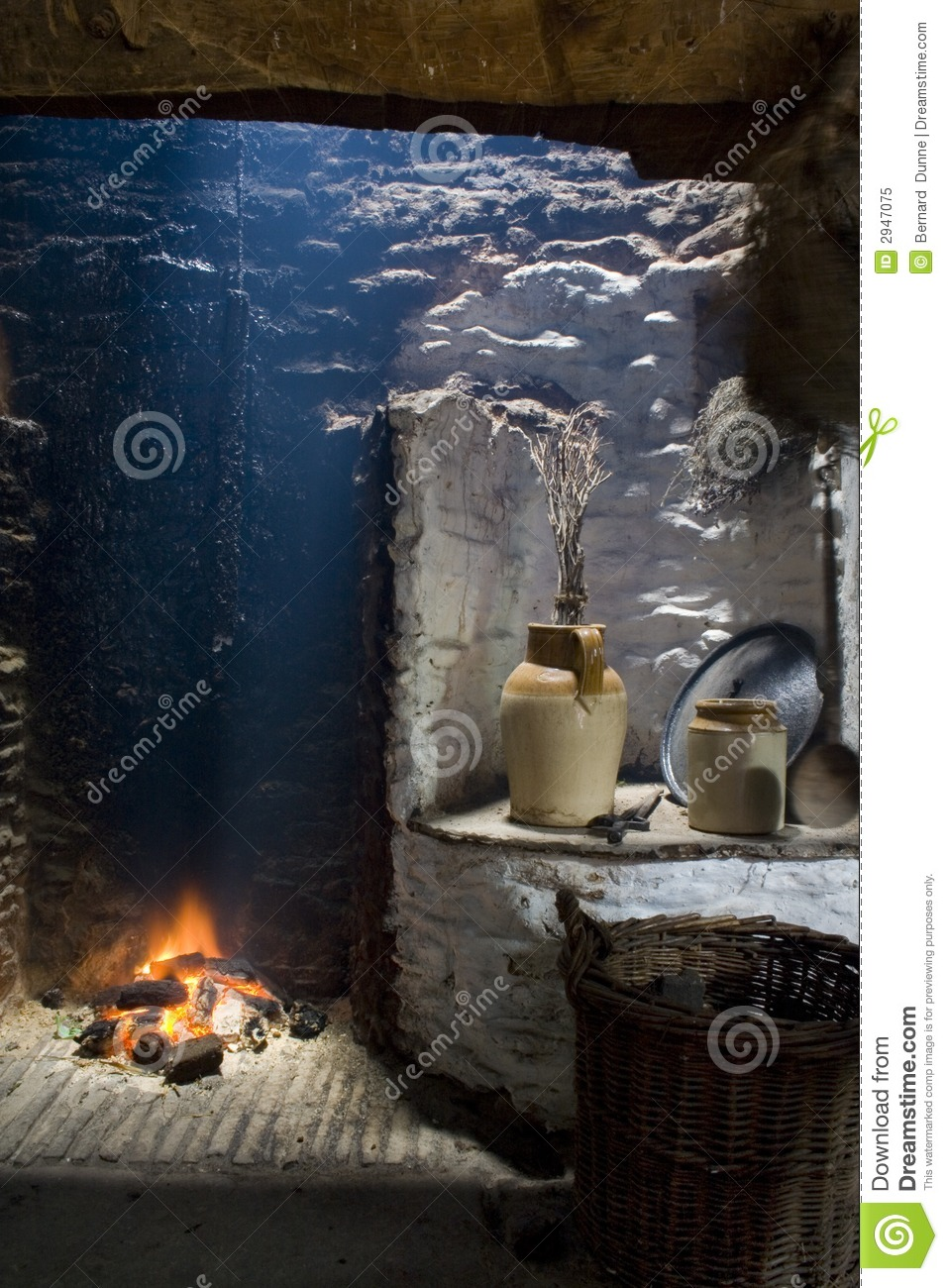 Old Irish Hearth Fireplace Royalty Free Stock Photo