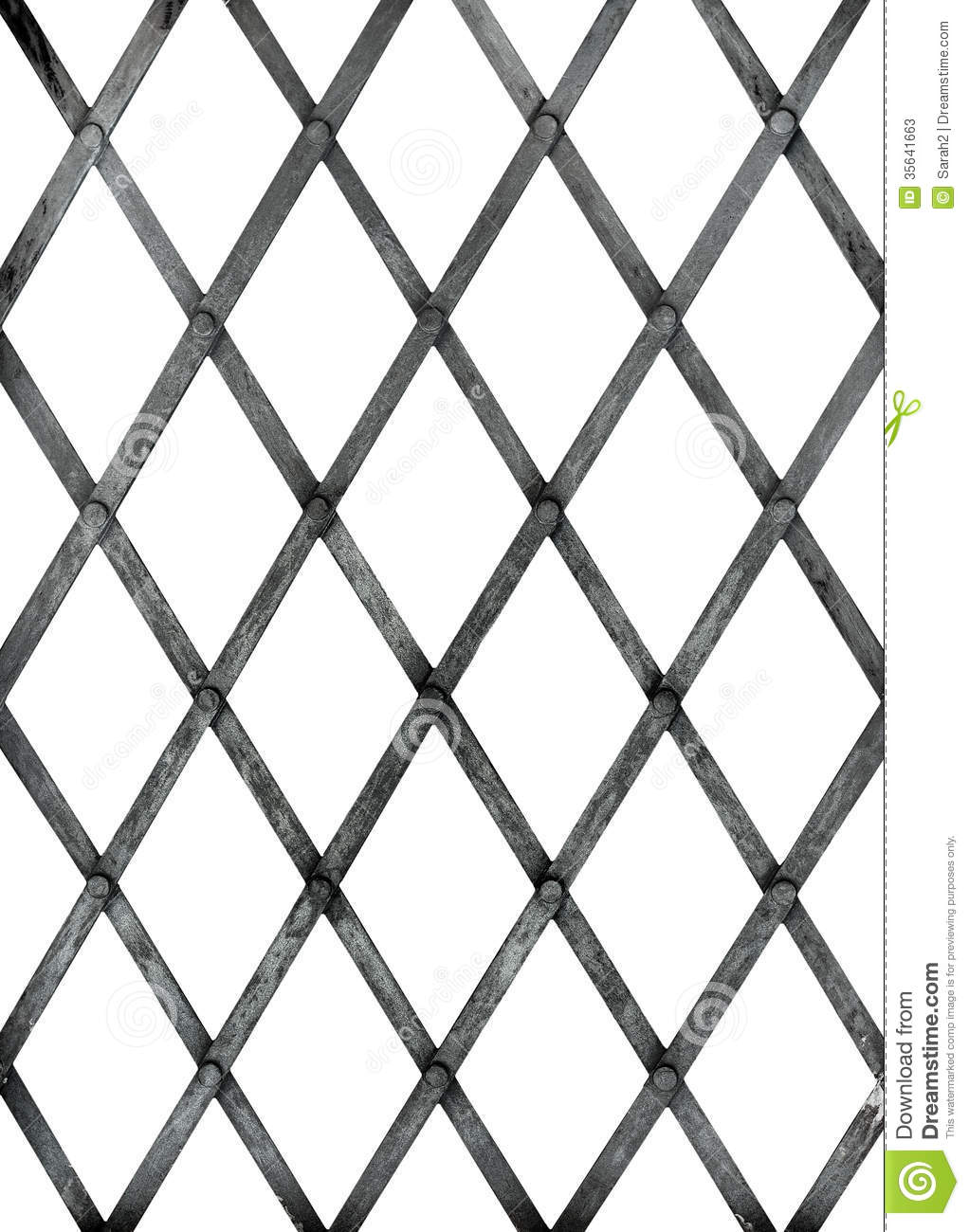 Old Iron Bars For Window Prison Isolated Over White
