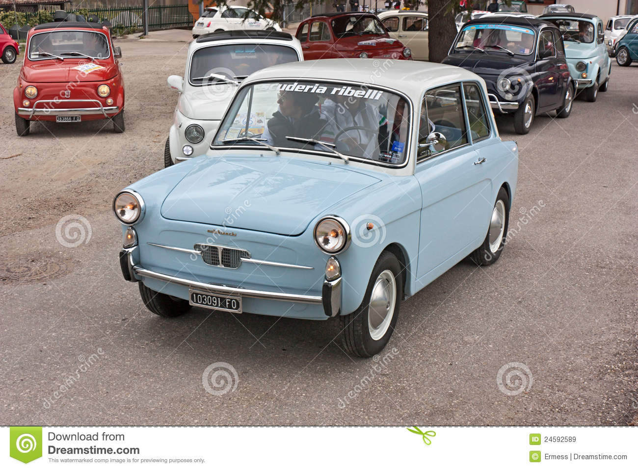 Old italian economy car editorial stock image. Image of restored ...