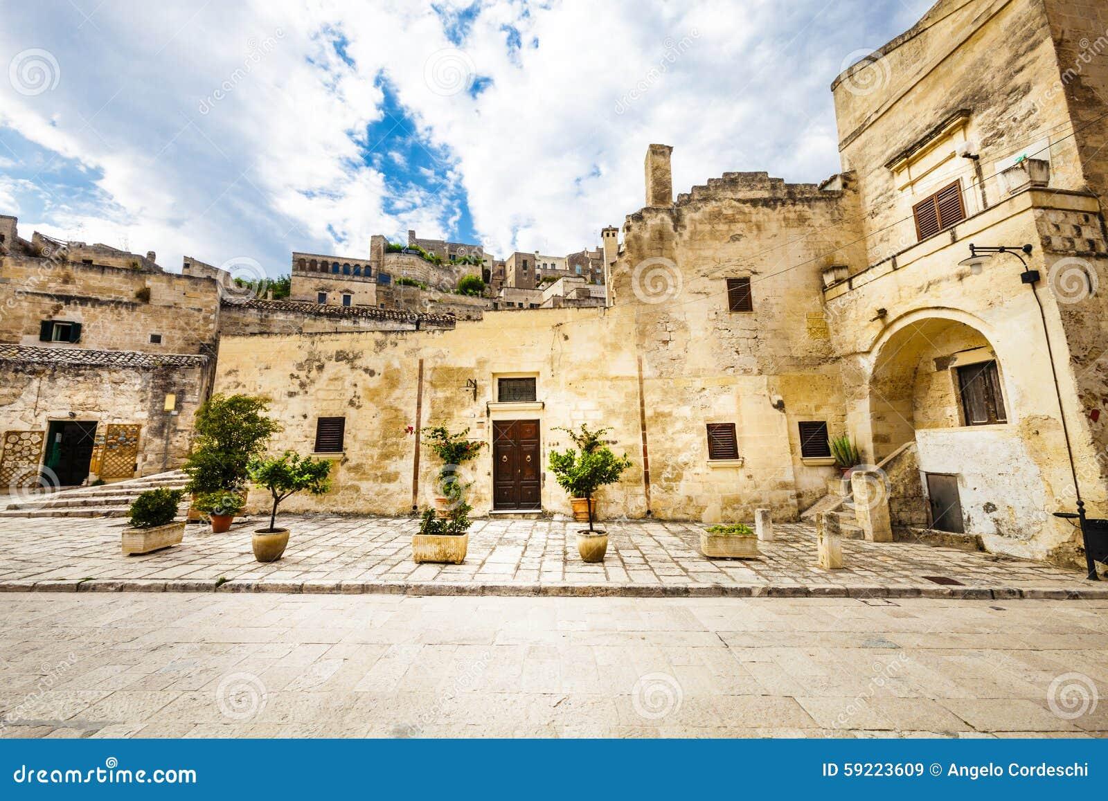 Old Italian Stone Buildings Matera Italy Stock Photo