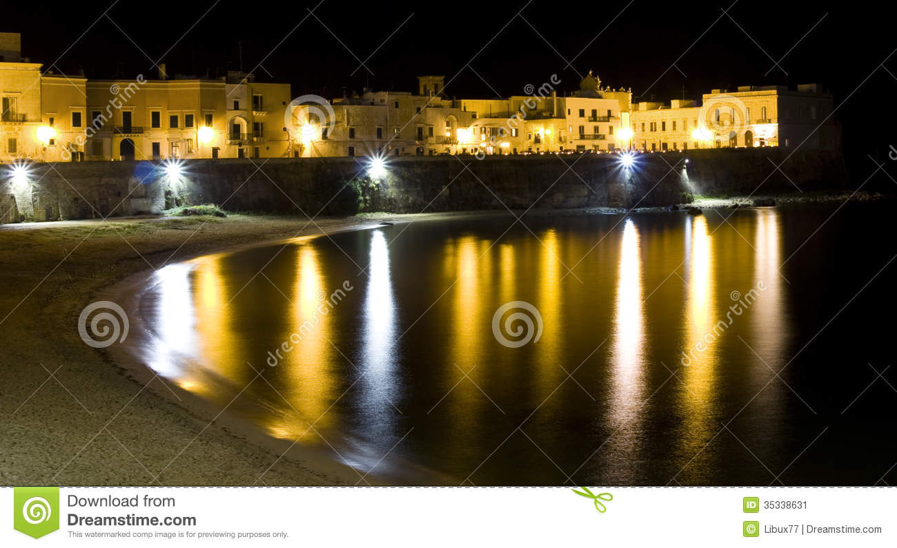 Download Old Italian Town By The Sea By Night Stock Image - Image of nighttime, city: 35338631