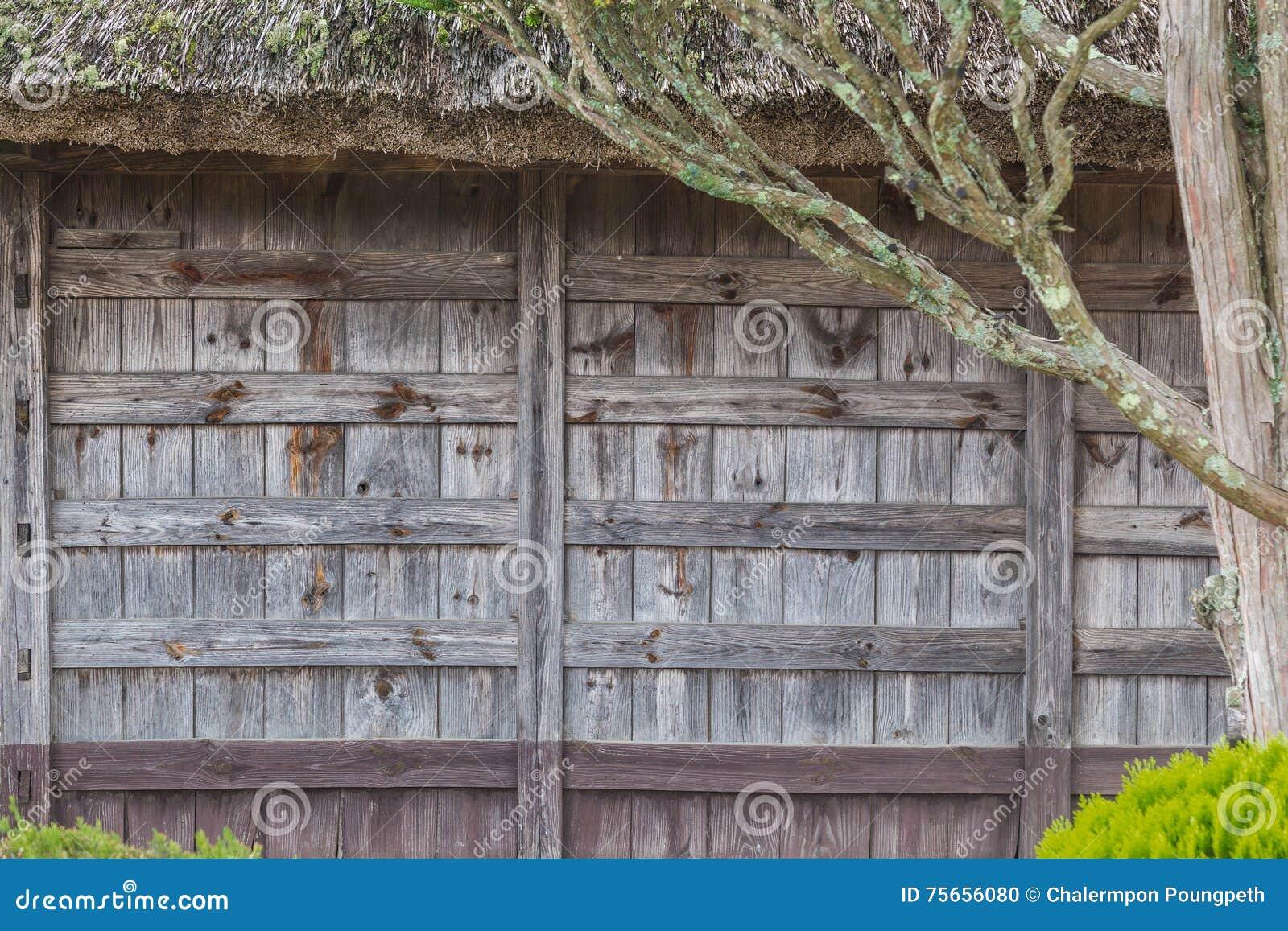 Old Japanese House Wood Panel Wall Stock Photo Image