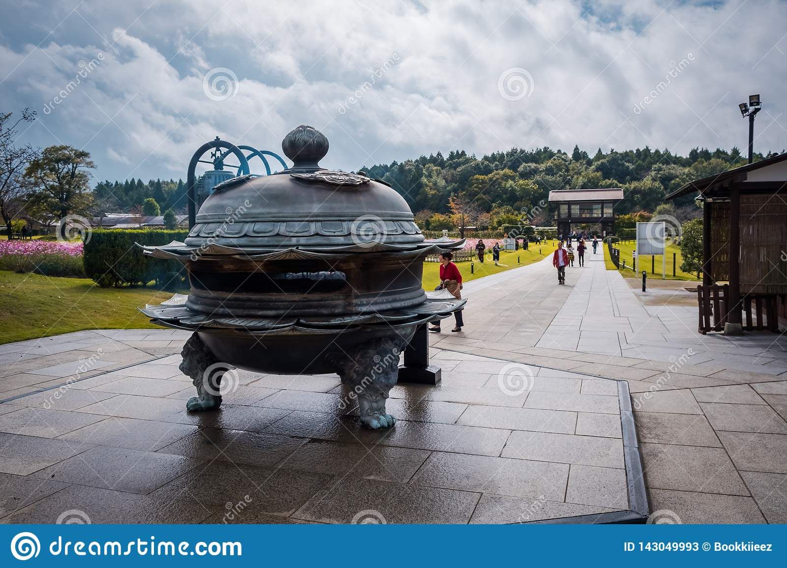 The old-Japanese style incense burner for praying to Ushiku Daibutsu, is the largest Buddha statue in the world, Japan.