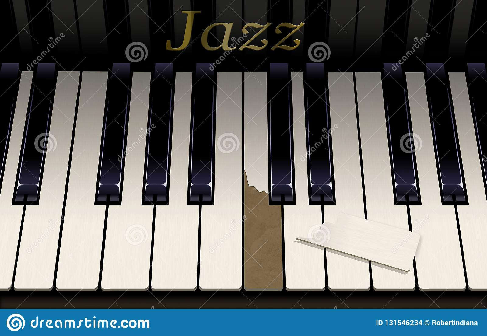 An old jazz piano keyboard has a broken key from aggressive piano playing. The emblem on the piano says Jazz in this close up look. This is an illustration stock images