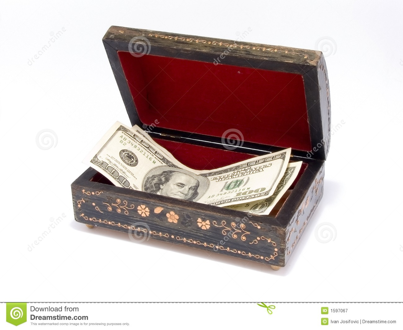 Old jewelry box with money inside royalty free stock for What to do with old mailbox