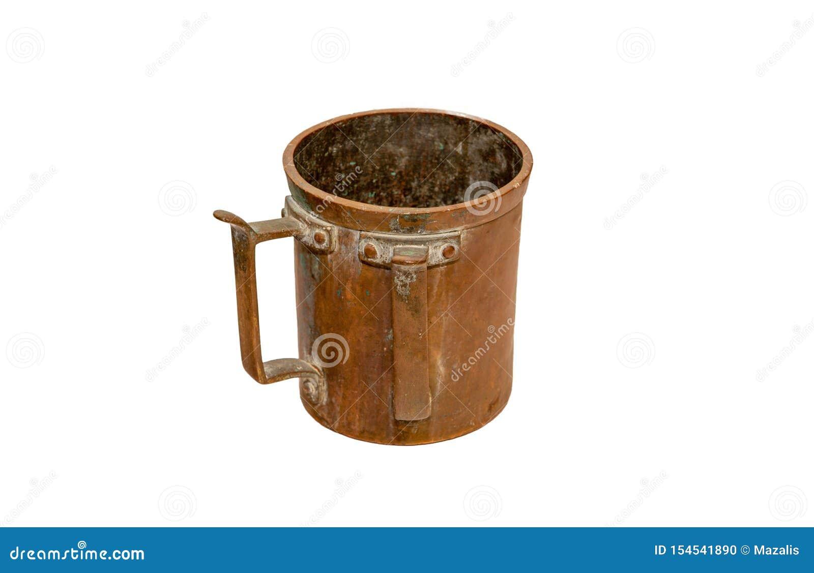 Old Jewish mug with two handlest isolated on white background