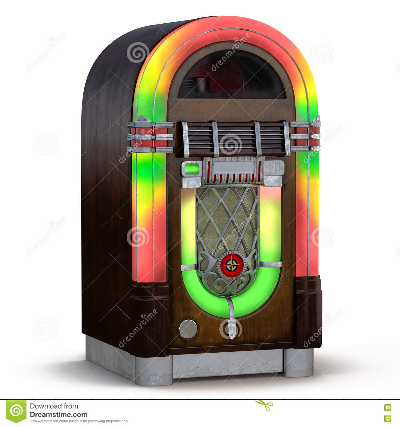 Old Jukebox Music Player Isolated On White 3D Illustration