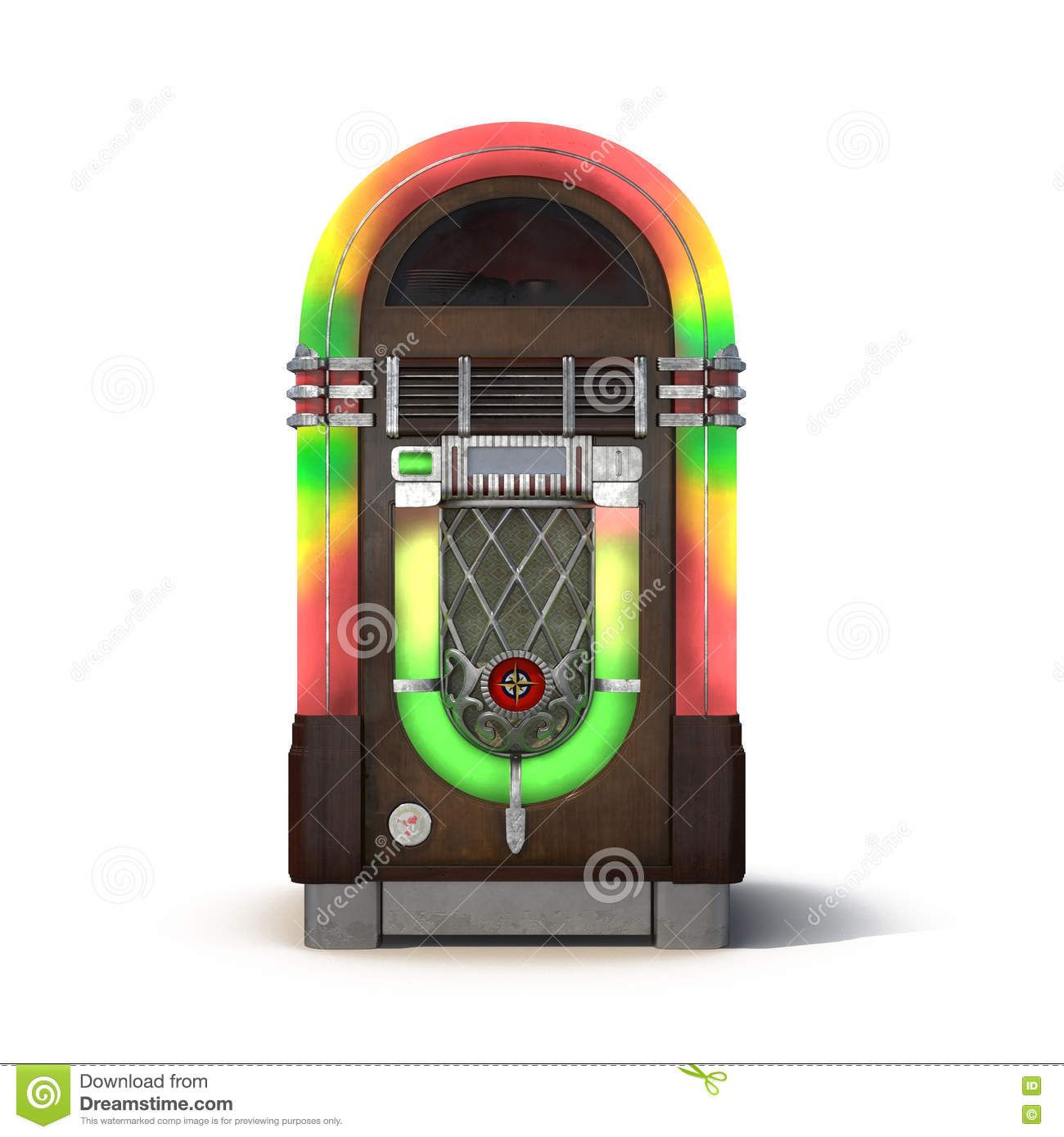 Old Jukebox Music Player On White 3D Illustration Stock