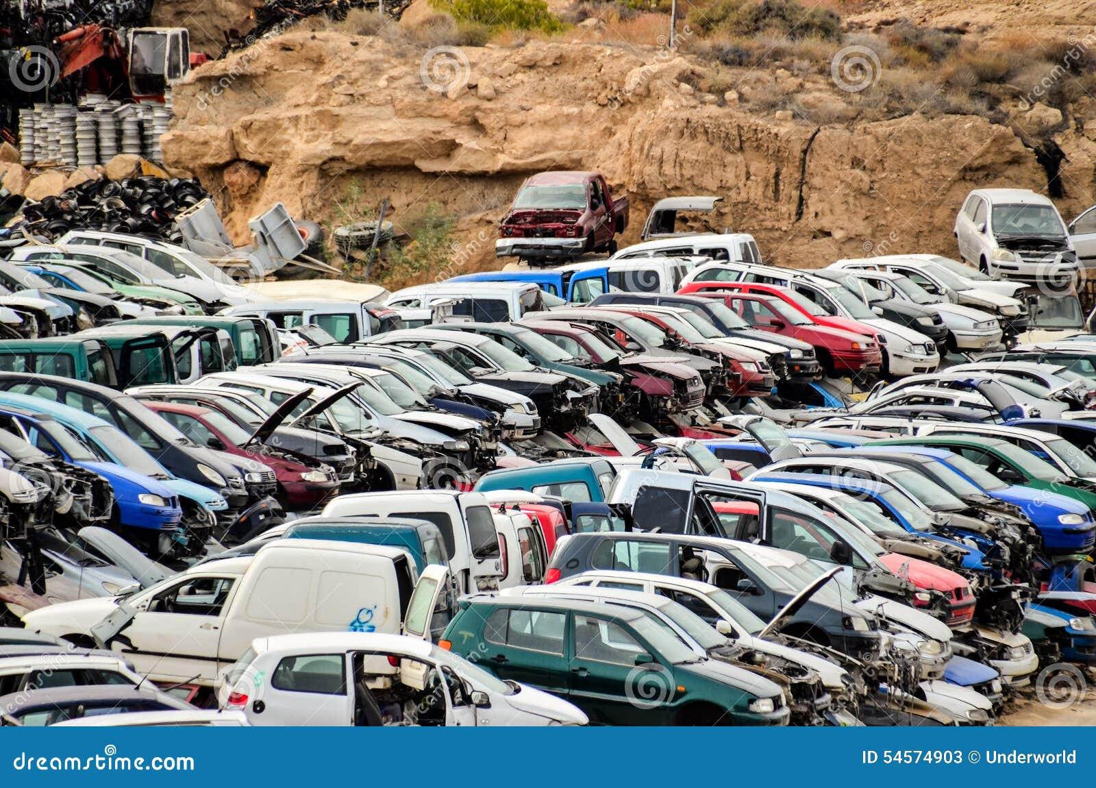 Old Junk Cars On Junkyard stock image. Image of compressed - 54574903