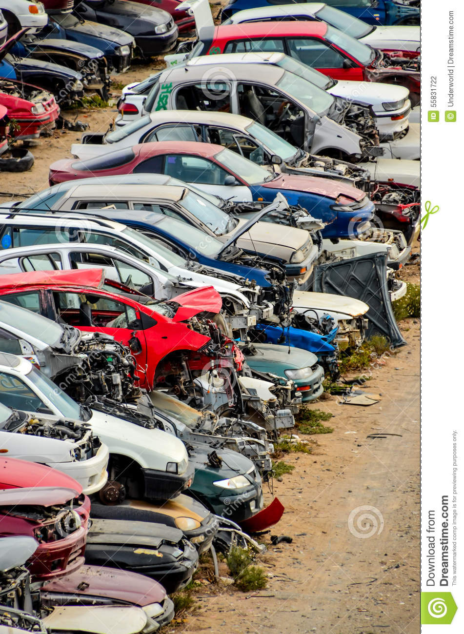 Old Junk Cars On Junkyard stock photo. Image of industry - 55831722