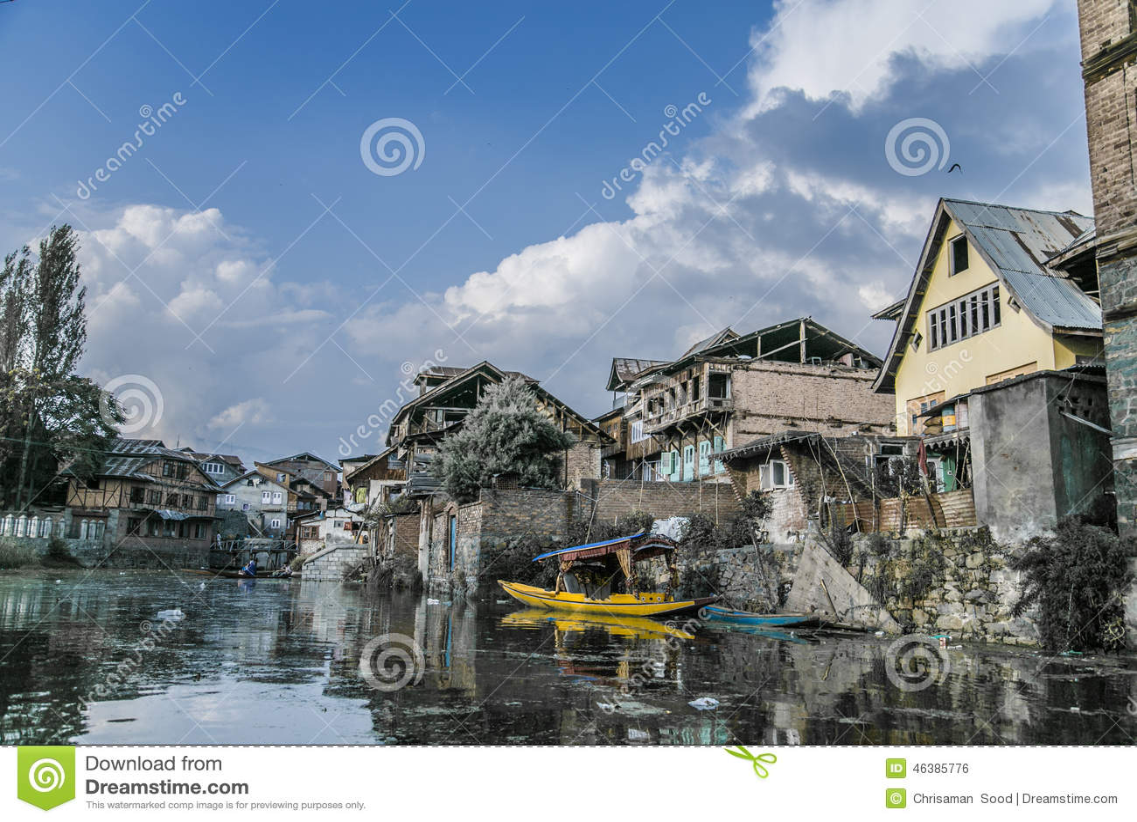 Old kashmir houses shikara stock photo