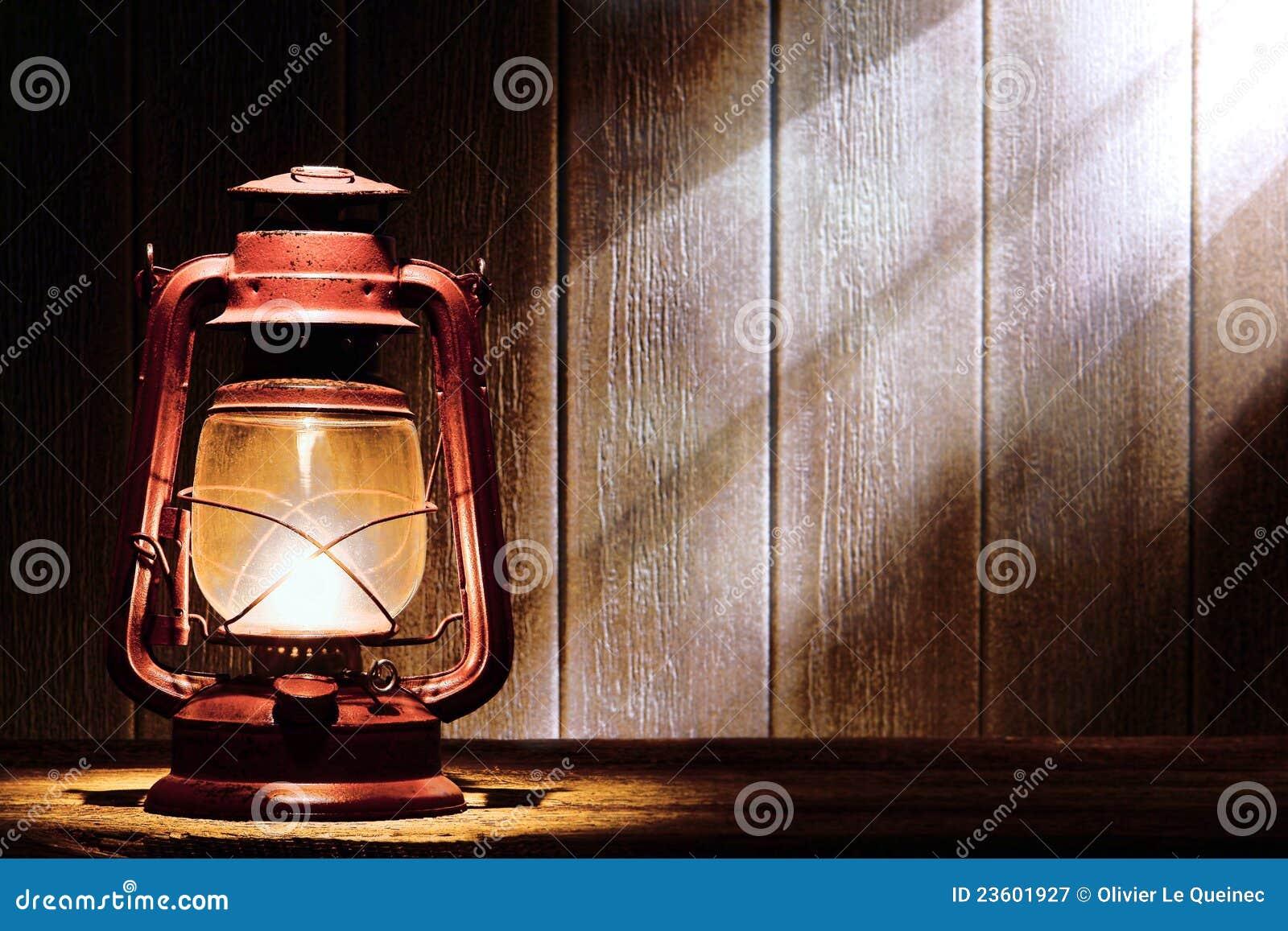Old Kerosene Lantern Lamp In Rustic Country Barn Stock ...