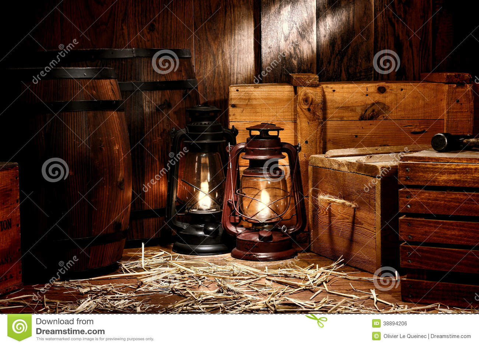 Old Kerosene Lantern Lamps In Antique Warehouse Stock