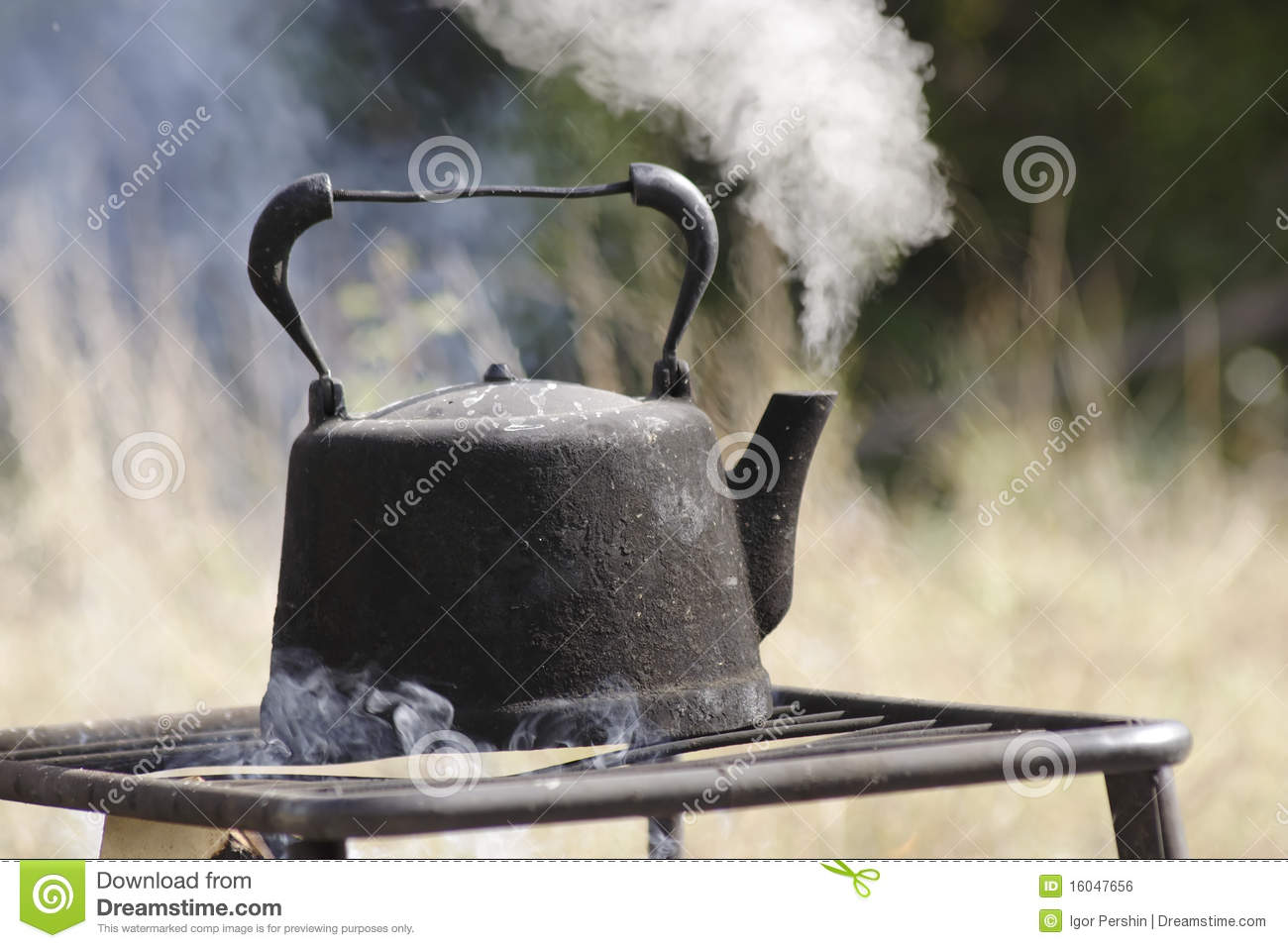 Old Kettle Boiling Outdoors Royalty Free Stock Image - Image: 16047656