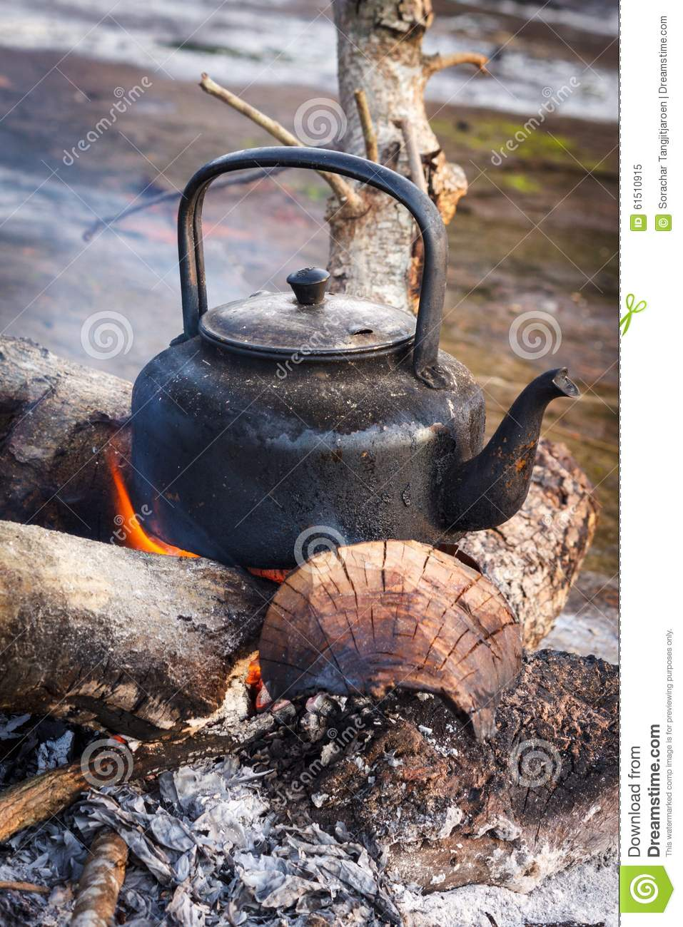 Old kettle over the fire. stock image. Image of flame ...