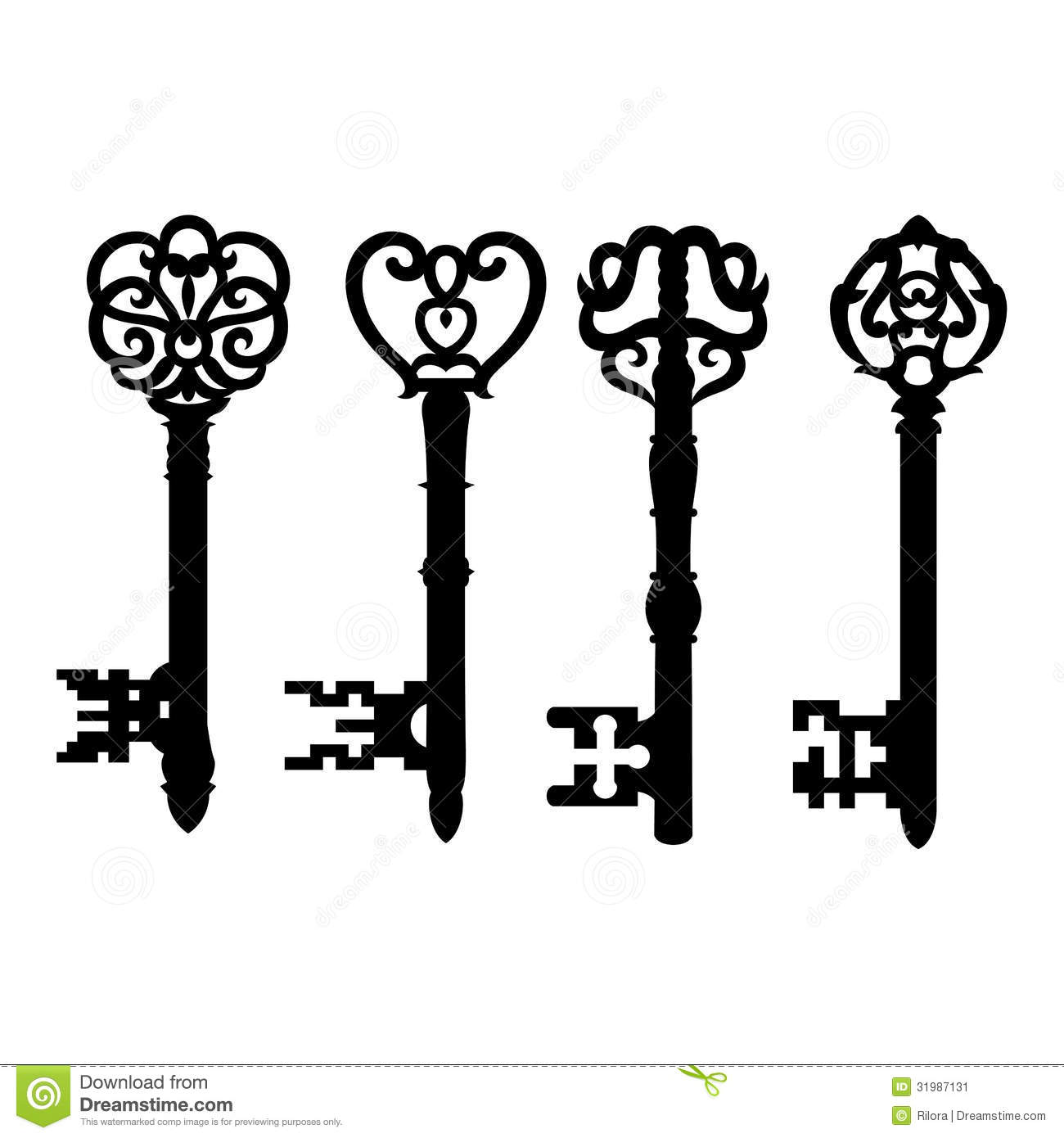 Vector Key Illustration: Old Key Collection Stock Vector. Image Of Collection