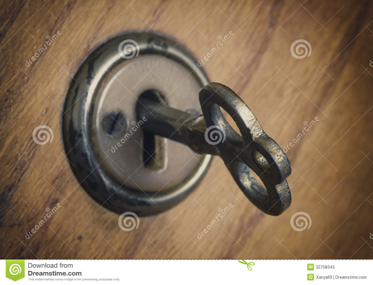 Old Key In The Lock Stock Photos Image 32758343