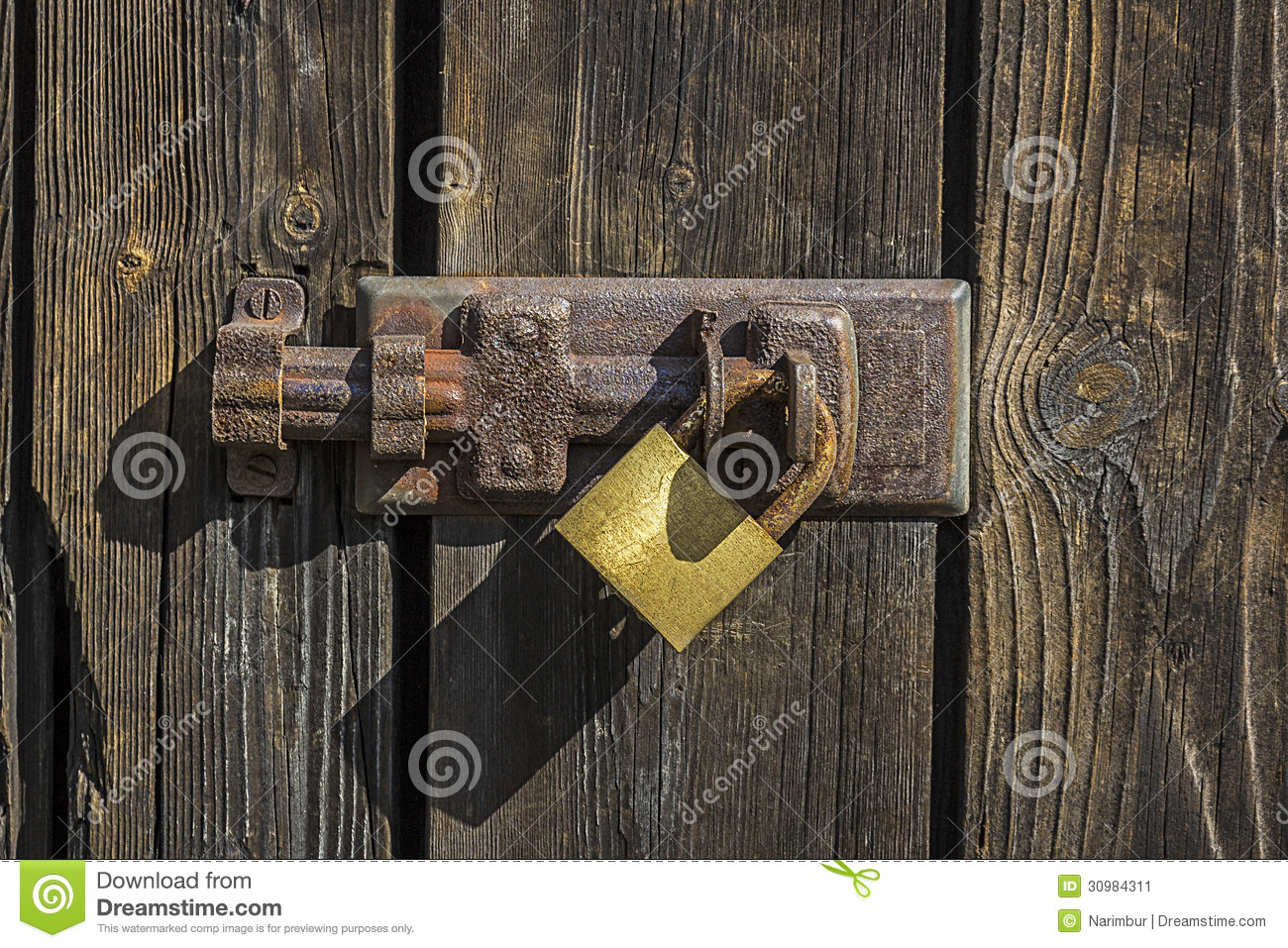 Old Key Lock On Wooden Door Stock Image Image 30984311
