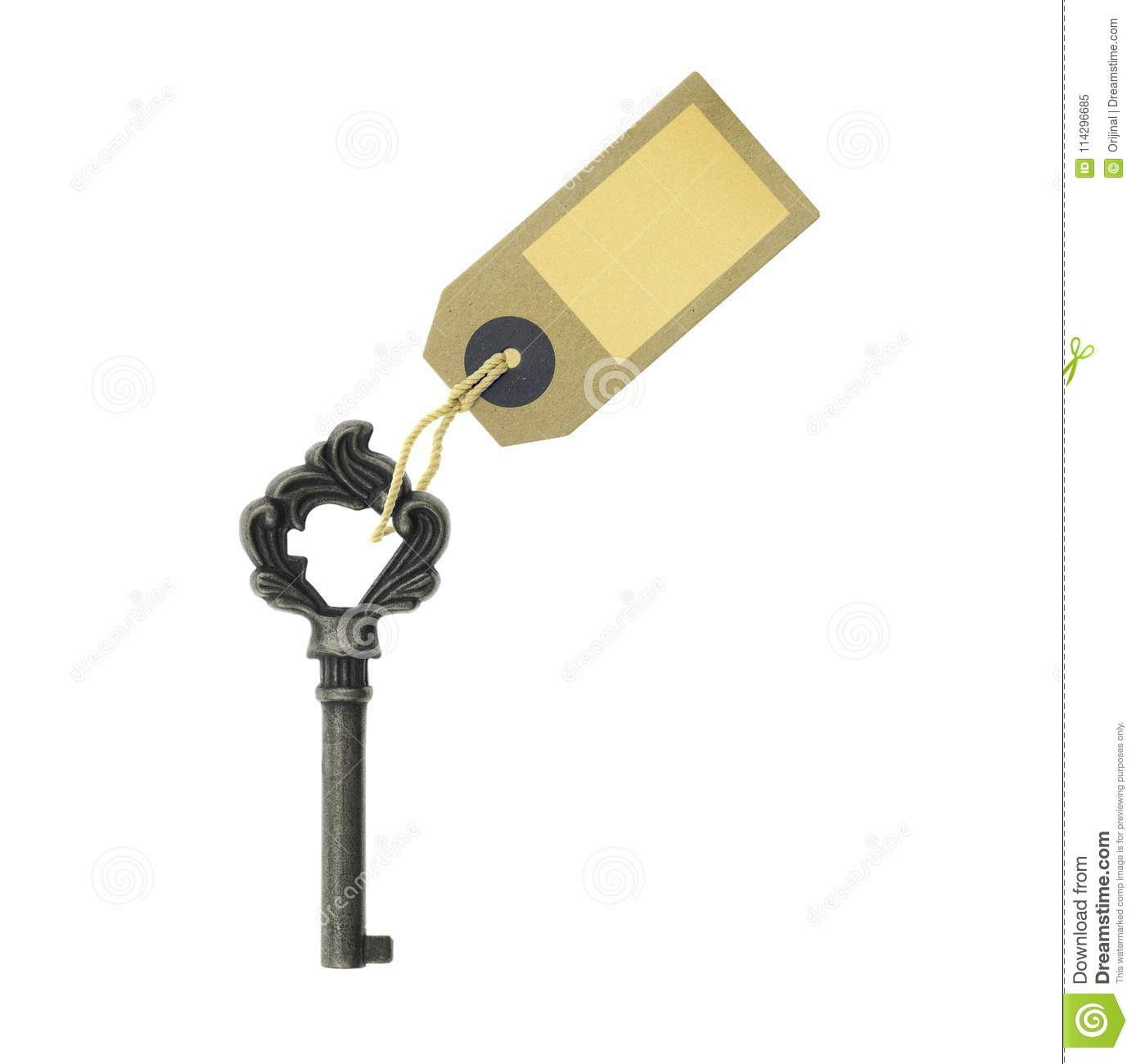 old key with a tag isolated on white background stock