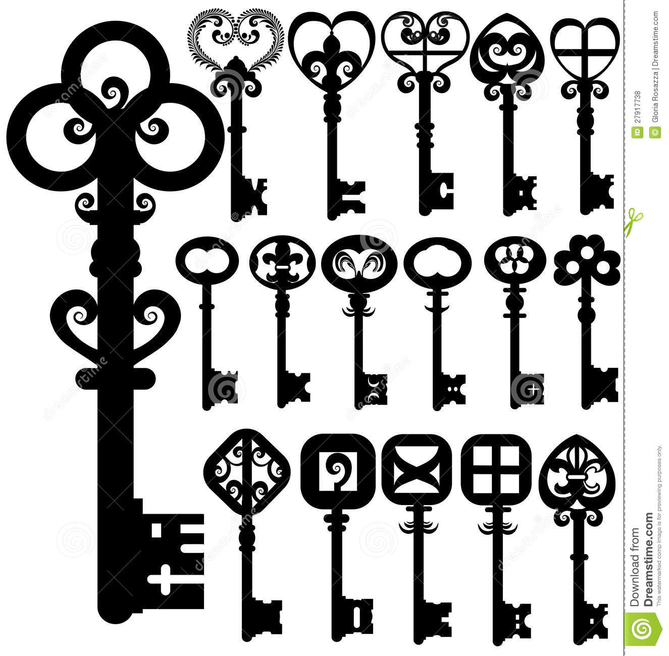 Old keys silhouettes