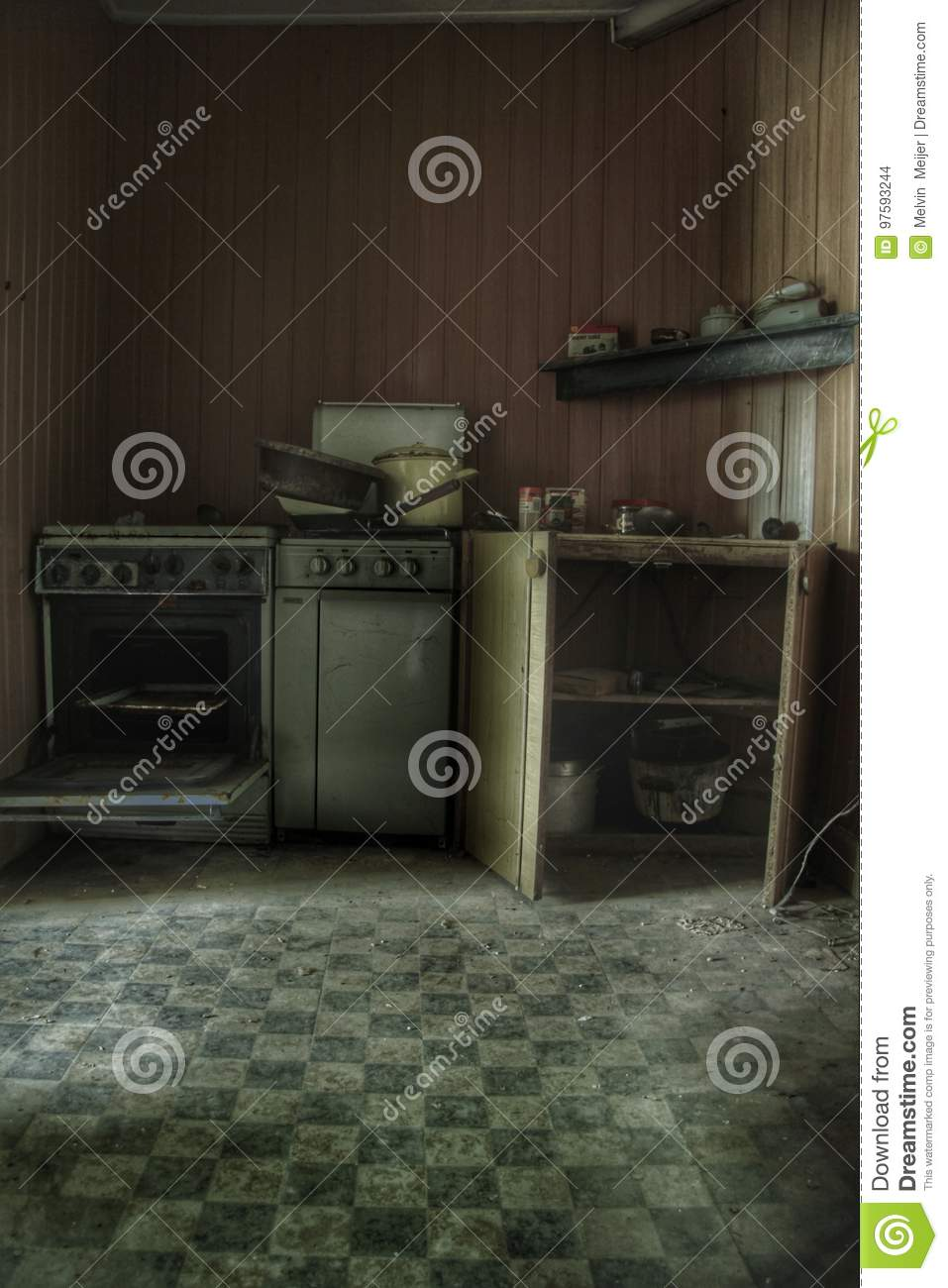 Download Old Kitchen Of An Abandoned House Stock Photo