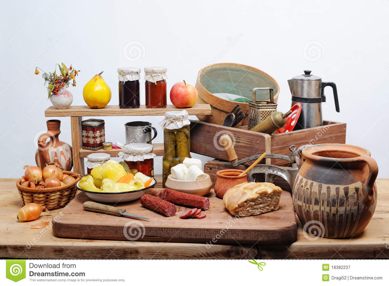 Old Kitchen Utensils And Food Royalty Free Stock