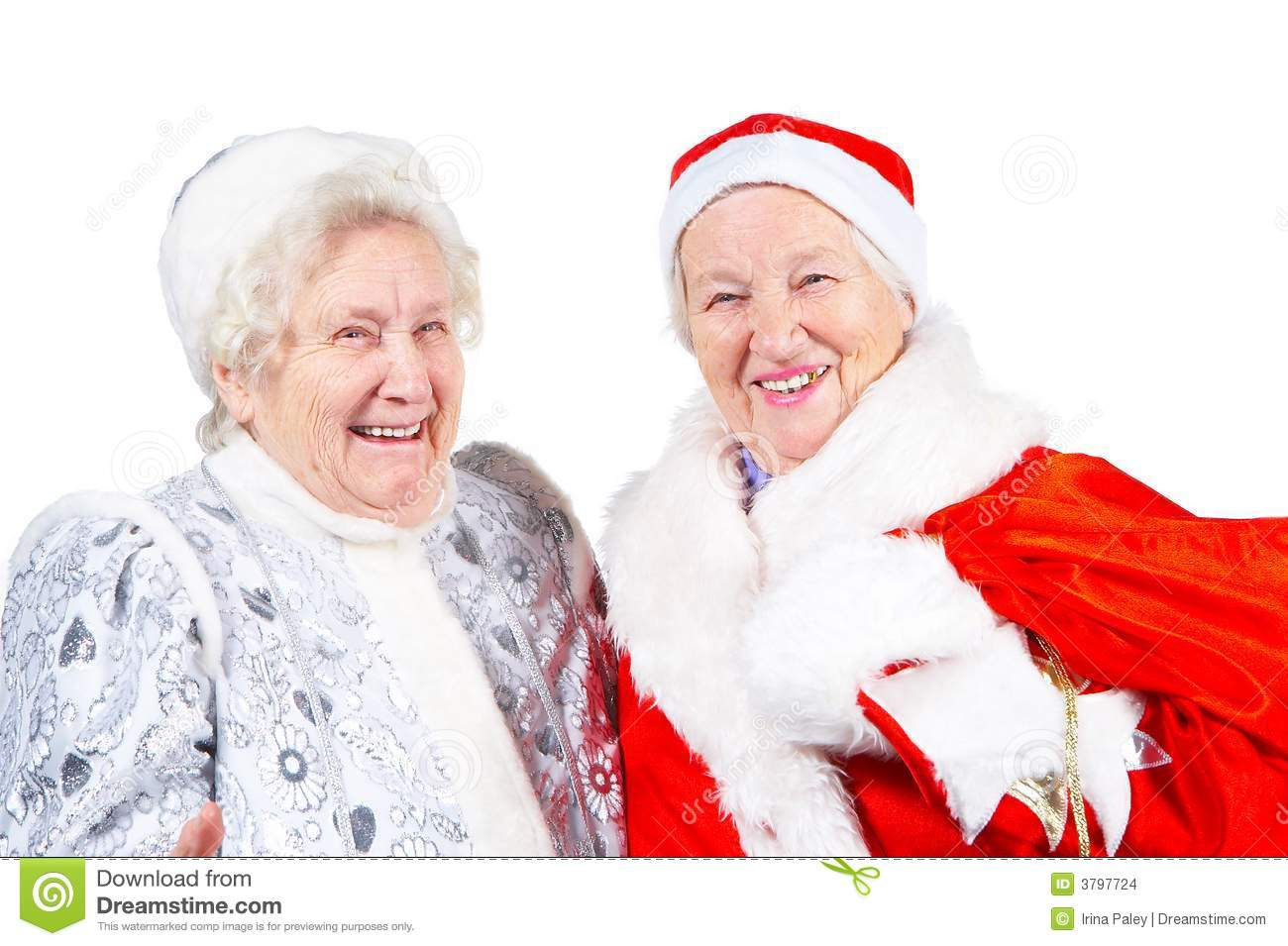 Old Ladies Snow Maiden And Santa Stock Photo Image 3797724