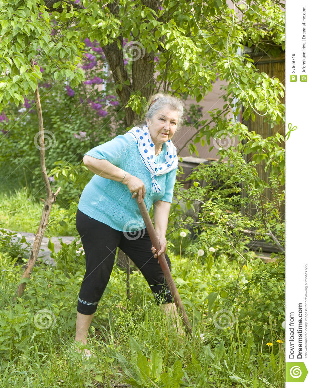 Old lady in garden royalty free stock images image 27869719 for Gardening tools for 6 year old