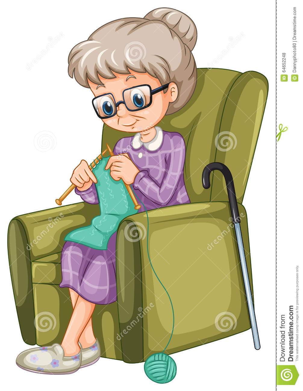 Old Lady Knitting Images : Old lady knitting on the chair stock vector image