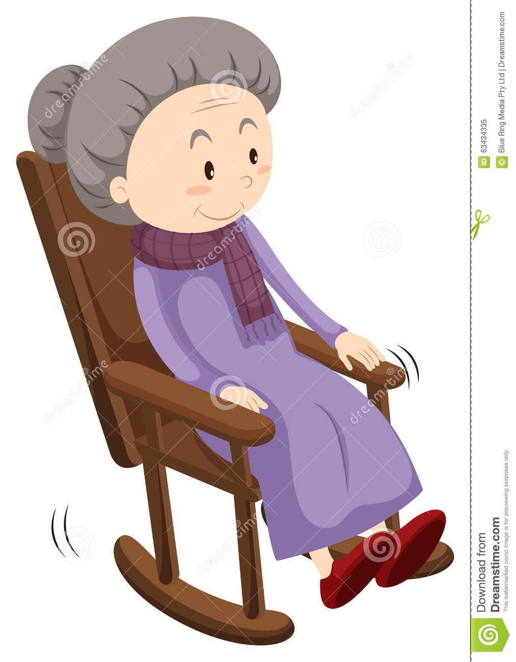 Old Lady On Rocking Chair Stock Vector Illustration Of