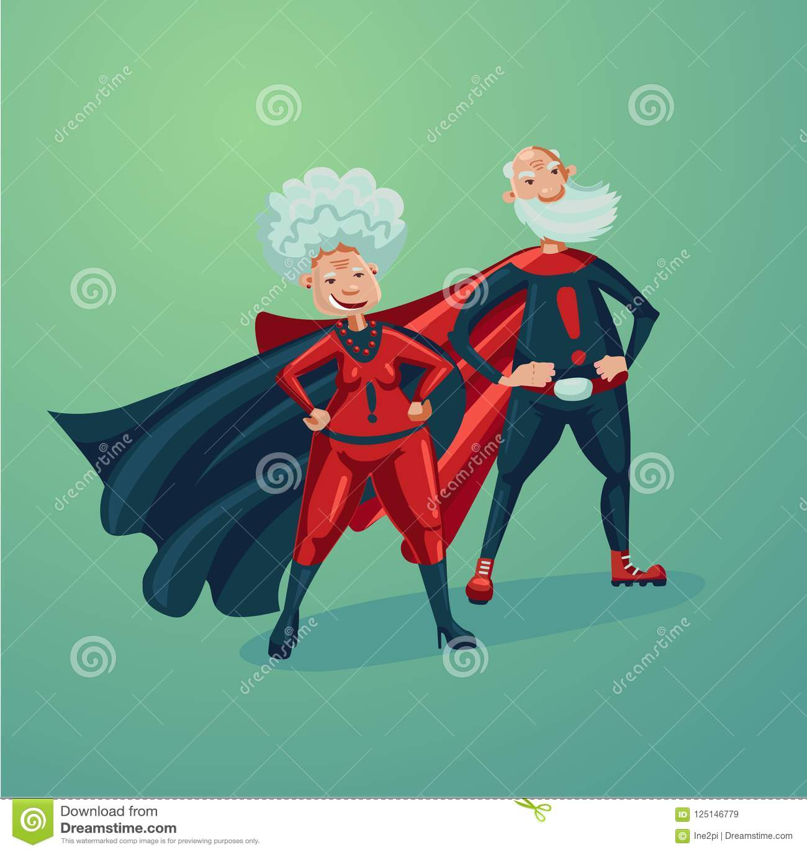 Super Hero Couple  Old Lady And Senior Adult Man  Comics