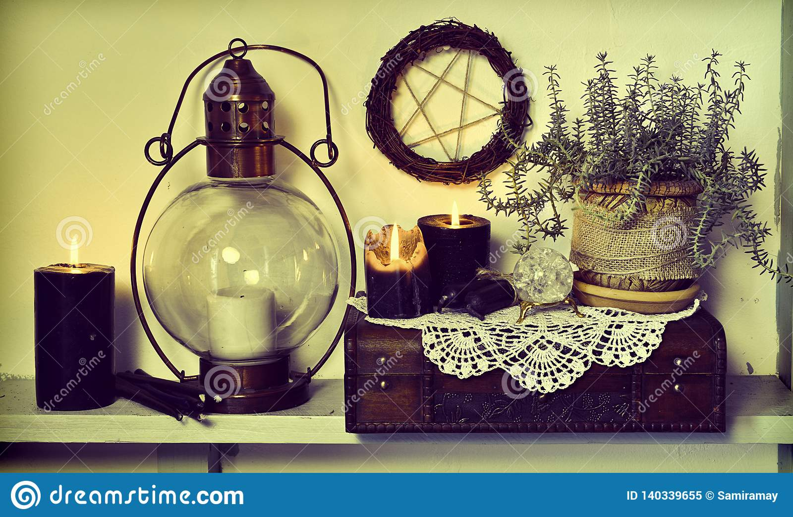 Old Lamp Burning Black Candles Succulent Plant Wooden Box And