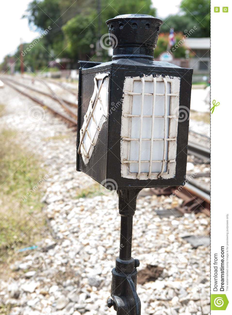 Old Lamp Pole In Railway Station Stock Photo - Image of railroad