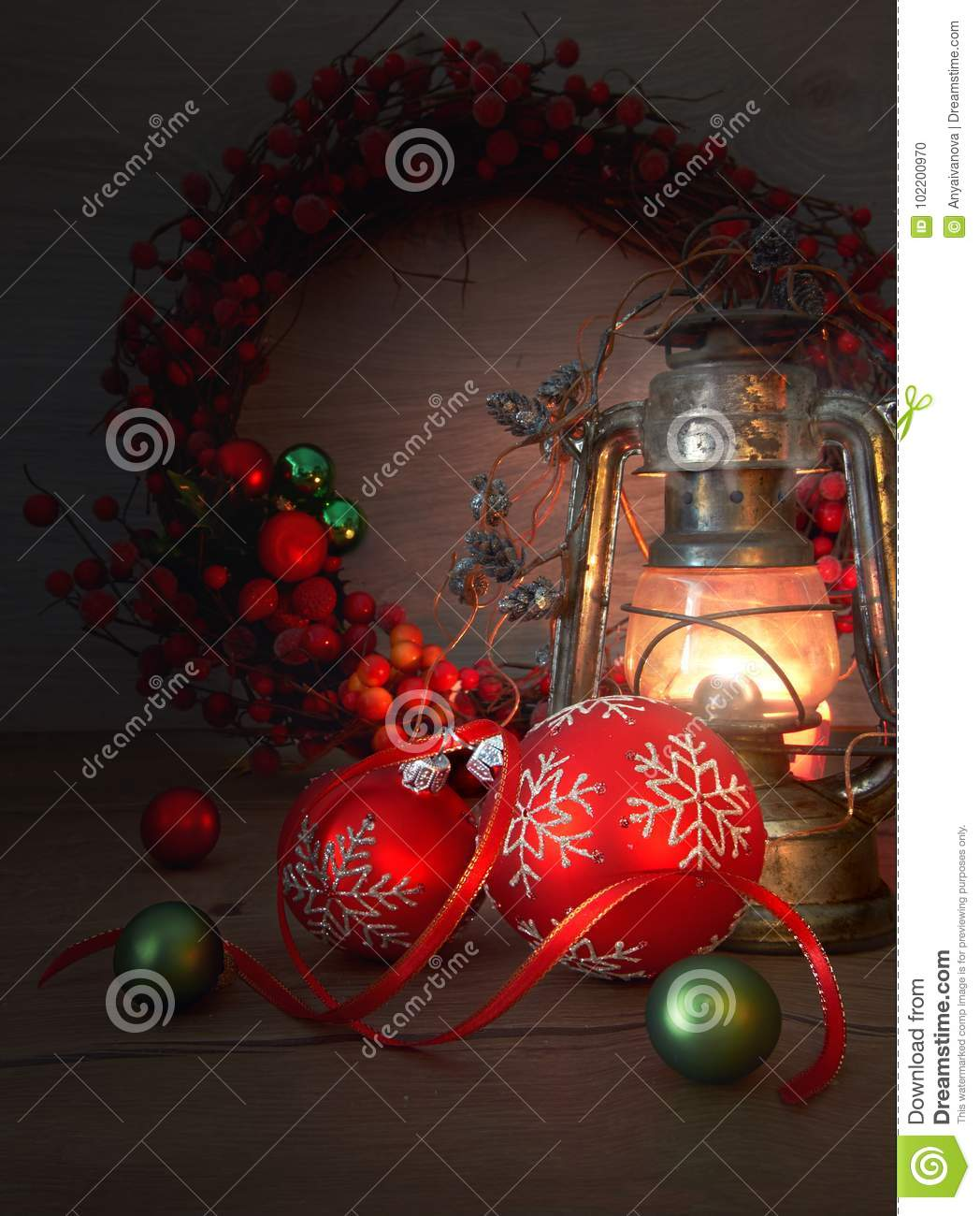 Old Lantern And Christmas Decorations On Wood Stock Photo - Image of ...