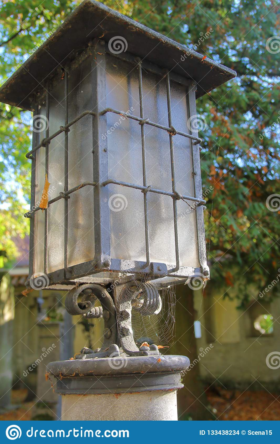 Old Lantern On The Monastery Cemetery Stock Photo - Image of