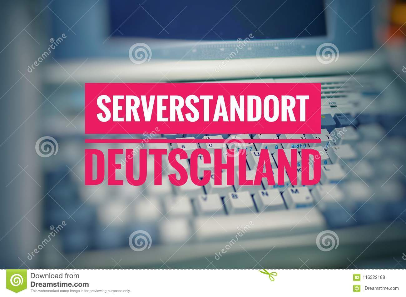 Old laptop with the inscription Serverstandort Deutschland in English Server Location Germany to symbolize the use of a German hos