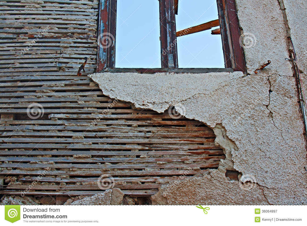 Lath And Plaster : Old lath and plaster on derelict building stock image