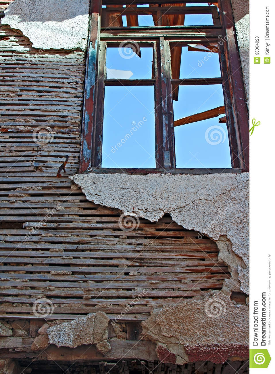 Old Lath And Plaster On Derelict Building Stock Photo
