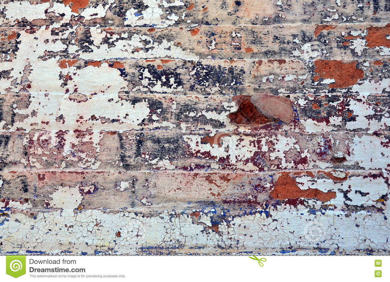 Old Layers Of Colorful Peeling Paint On Exterior Brick Stock Photo ...